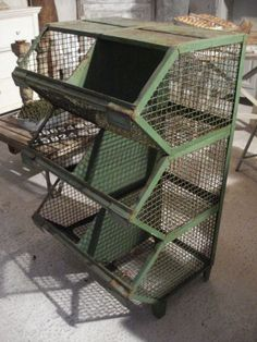 Metal industrial storage unit; this would be useful for potatoes, onions and other root vegetables.