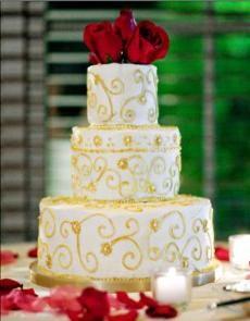 Gold Scroll Wedding Cake