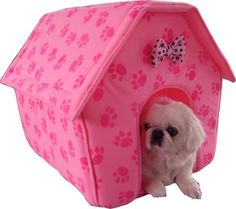 New Pink Paw Prints Collapsible Pet Dog Puppy Cat Kitten Bed Shelter House -Medium - http://www.thepuppy.org/new-pink-paw-prints-collapsible-pet-dog-puppy-cat-kitten-bed-shelter-house-medium/