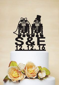 Robot Wedding Cake Topper,StarWars Cake Cake Topper, Initial Cake Topper with Wedding Date,Personalized Cake Dear friends, Thanks for your interest in my cake toppers. All designs in my shop are handmade. Each item would be unique for you. Before placing Personalized Cake Toppers, Custom Cake Toppers, Custom Cakes, R2d2 Cake, Robot Cake, Wedding Cake Toppers, Wedding Cakes, Star Wars Cake Toppers, Starwars