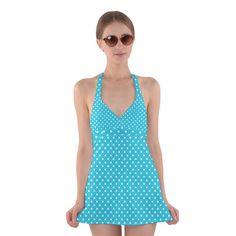 Polka dots Halter Swimsuit Dress