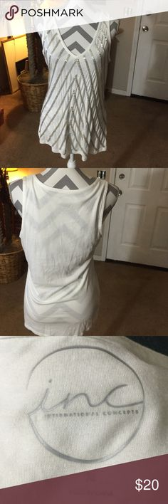 Inc international concepts top Inc international concepts   Size XL.        White/silver.  Never worn INC International Concepts Tops Blouses