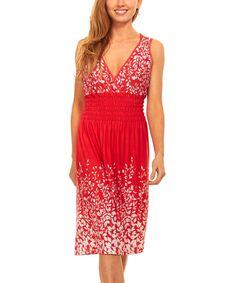Red & White Leaf Smocked-Waist Surplice Dress