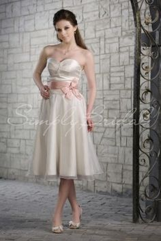 Wedding Dress by SimplyBridal. This tea length A-line silhouette gown with a strapless sweetheart neckline is both cute and elegant. The satin fabric is complemented perfectly with the light organza material allowing you to glide through your big day.  A sash and pleated detailing add . USD $197.99