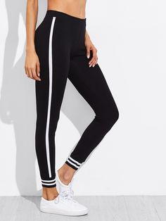 f13bd73c94 Shop Active Stripe Paneled Leggings online. SheIn offers Active Stripe  Paneled Leggings & more to