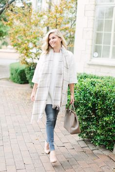 white quilted tunic with off white plaid scarf