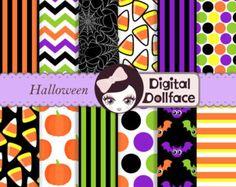 Colorful Halloween Digital Paper, Scrapbook Paper, spiderweb, chevron & candy corns