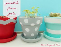 Spice up your dorm room for spring with painted flower pots! Painted Flower Pots, Painted Pots, Hand Painted, Easy Crafts, Diy And Crafts, Craft Projects, Projects To Try, Idee Diy, Craft Club