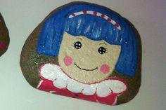 Girly painted rock lalaloopsy