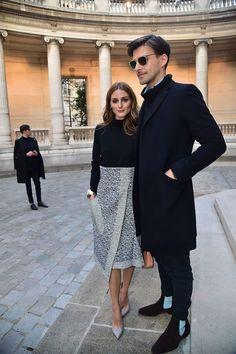Stylish couple Olivia Palermo & Johannes Huebl | 2015 Paris Fashion Week