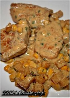 TEJSZÍNES SÜLT KARAJ / Latsia 50 dkg karaj egyben 2 burgonya hámozva, felkockázva 2,5 dl tejszín 2 marék kukorica - konzerv pác: 2 ek ol... Meat Recipes, Chicken Recipes, Cooking Recipes, Easy Healthy Dinners, Healthy Dinner Recipes, Hungarian Recipes, Pork Dishes, Food 52, Light Recipes