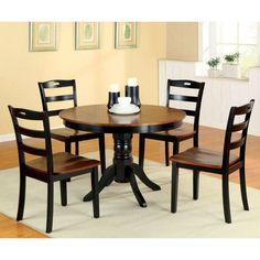 Furniture of America Eduard 5 Piece Round Dining Table Set - IDF-3027RT-5PC
