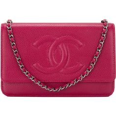 Pre-Owned Chanel Dark Pink Caviar CC Wallet On Chain (WOC) (50,730 MXN) ❤ liked on Polyvore featuring bags, wallet, pink, preowned bags, real leather bag, pink bag, multicolor bag and leather flap bag