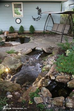 Beautiful Backyards: Be Inspired! Beautiful Backyards often include a pond or water garden with a seating area. Outdoor Water Features, Water Features In The Garden, Backyard Garden Design, Ponds Backyard, Patio Pond, Backyard Waterfalls, Garden Ponds, Koi Ponds, Garden Oasis