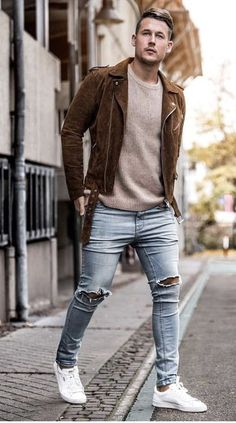 e74c8eb45826 ... black Fall outfit inspiration with a brown suede jacket beige sweater  light wash ripped jeans no show ...