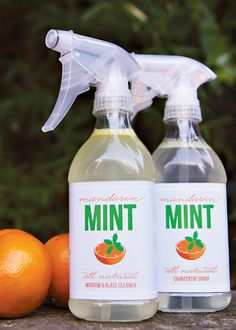 All-Natural Mandarin Mint Countertop Spray    – 12 oz spray bottle  – 3/4 cup vinegar  – 3/4 cup water  – 1/2 tsp liquid dish detergent  – 10 drops of mandarin orange/tangerine/sweet orange essential oil    – 10 drops of peppermint essential oil    Tips:  Mix well before each use to avoid streaks.  Add more or less (or different type of) essential oil depending on your scent preferences.