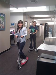 My former coworkers at UCLA Transportation Xooted around the office on our Xootr kick scooters.