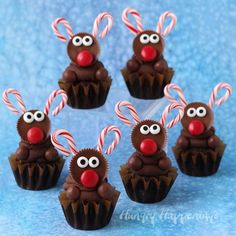 Chocolate Reindeer Cupcakes: These cute mini treats will delight kids and adults alike. Find more easy, fun, and creative Christmas reindeer dessert ideas and recipes including cupcakes, cookies, rice krispie treats and cakes here. Reindeer Cupcakes, Christmas Cupcakes, Christmas Sweets, Christmas Cooking, Christmas Goodies, Cupcake Cookies, Christmas Fun, Reindeer Christmas, Christmas Wreaths