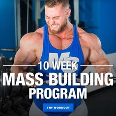 This workout is designed to increase your muscle mass as much as possible in 10 weeks. Works each muscle group hard once per week using mostly heavy compound exercises. Workout Programs For Men, Gym Program, Weight Training Programs, Weight Training Workouts, Power Lifting Workouts, Workout Routine For Men, Gym Workout Tips, Fun Workouts, Boxing Workout