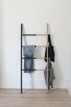 Buy Hub Ladder from Umbra. Our adjustable organizational ladder makes a stylish hanging rack for clothes, linens, and accessories for a functional and d. Ladder Towel Racks, Hanging Clothes Racks, Hanging Racks, Spring Cleaning Organization, Clutter Organization, Design3000, Ladder Bookcase, Modern House Design, Interiores Design