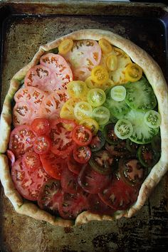 Heirloom Tomato Pizza - presentation is so simple, but so pretty (veganize using vegan cheese like daiya)