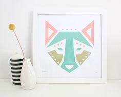 Estampe, sérigraphie, abstrait, géométrique de chien, loup, Animal par sassandperil sur Etsy https://www.etsy.com/ca-fr/listing/129478278/estampe-serigraphie-abstrait-geometrique