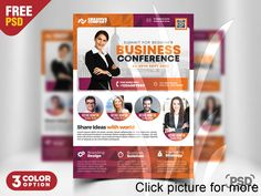 I'm happy to share Free Business Conference Flyer Template PSD. This Business Conference Flyer Template PSD is a great design for promoting your corporate event, seminars, agency event or any business events.
