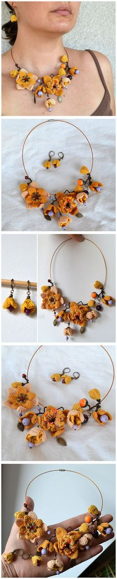 statement uniquely crochet bib necklace and earrings от Marmotescu