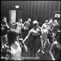 The finalists bust a move with their fake microphones during finale rehearsals. #idol