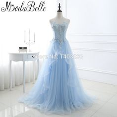 39770feef38 2017 In Stock Romantic Blue Beaded Long Prom Dresses With Appliques A Line  Sweetheart Tulle Prom