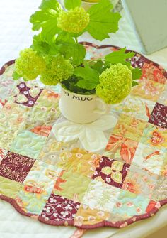 mini charm pack table topper with scalloped edges