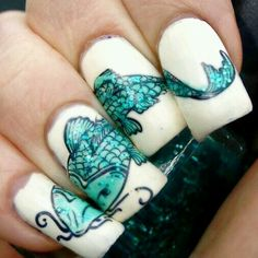 Coy Fish Nail Stamping. Plate also includes Mermaids & Seahorse!