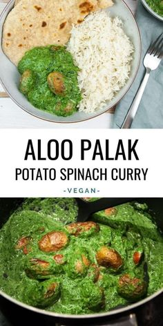 elephantasticvegancom delicious aloopalak spinach creamy potato palak curry vegan aloo easy make to so Aloo Palak Creamy Potato Spinach Curry Easy to make so delicious You can find Vegan indian food and more on our website Vegan Dinner Recipes, Indian Food Recipes, Whole Food Recipes, Diet Recipes, Vegetarian Recipes, Cooking Recipes, Healthy Recipes, Vegan Recipes Spinach, African Recipes