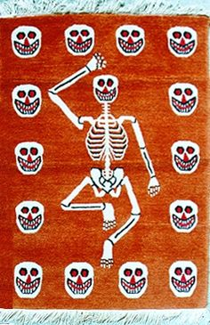 Tibetan Tantric Carpet, Skeleton, 2'x3'