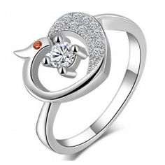 Micro-inlaid CZ White Gold Plated 925 Sterling Sillver Phenix Ring