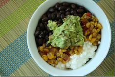 beans, corn, cottage cheese and avocado meal