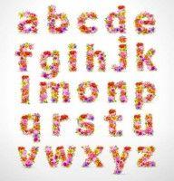 beautiful flowers alphabet vector