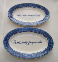 blue willow ashtrays whimsical sayings by vintagevampbymary, $28.00