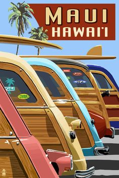 Woodies Lined Up - Maui, Hawaii -