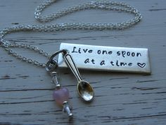 Live one spoon at a time - necklace - spoonie - silver bar - hand stamped - spoon charm - Swarovski crystals and glass pink heart