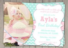 1st Birthday Invitation Blue and Pink  by InvitaitonsByLittleP, $10.00