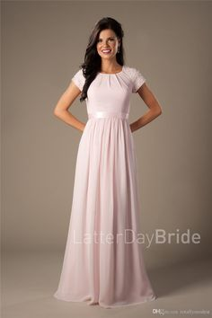 Beaded Pink Long Chiffon Modest Bridesmaid Dresses With Cap Sleeves Elegant Evening  Wedding Party Dresses A Line Floor Length Custom Made Plum Bridesmaid ... c10d8ef675fc