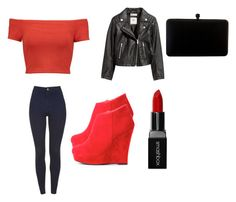 Black and Red Harley Quinn Style by harleyquinndiva on Polyvore featuring polyvore fashion style Alice + Olivia H&M Smashbox clothing