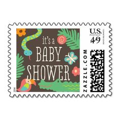 In the Jungle Baby Shower Stamp by origamiprints