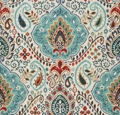 Teal Red Paisley Upholstery Fabric – Custom Teal Red Grey Damask Cotton Curtains – Custom Teal Red Modern Pillow Covers – 3 Colors Available – 2019 - Fabric Diy
