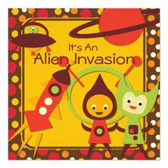 Science Birthday Party Invitations Alien Invasion Customized Birthday Invitations