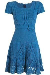 Arte em Crochê por Bruna Frank: Vestido azul passo a passo