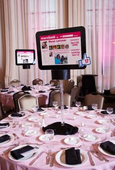 DIY :):) Social Media theme party ,Lantzman decor 12th Birthday Party Ideas, 13th Birthday Parties, Bar Mitzvah Centerpieces, Party Centerpieces, Dance Emoji, Instagram Party, Trunk Party, Bat Mitzvah Themes, Summer Party Themes