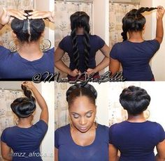 by @mzz_afrobella pull hair in 2 puffs in the back. I then took 2 pacs of Braid Kanekalon hair, wrapped each pack around puffs, 2 strand twist hair &you'll get 2 jumbo twists as shown in the 2nd pic In the 3rd picture, I wrapped 1 of the twists around both puffs clockwise & pinned it, the 4th pic me doing the same thing with other twist counterclockwise & pinned. Once both jumbo twists wrapped around, u just pin the hair in the necessary places 4 security. Secure wherever with pins