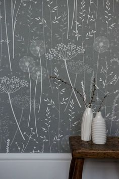buy Charcoal Paper Meadow Wallpaper by Hannah Nunn online from Live Like the Boy home of characterful paints, wallpaper, furniture and lighting in Colne UK Wall Decor, Decor, Wallpaper Bedroom, Home Wallpaper, Designer Wallpaper, Painted Baskets, Wallpaper, Home Decor, Woodland Wallpaper